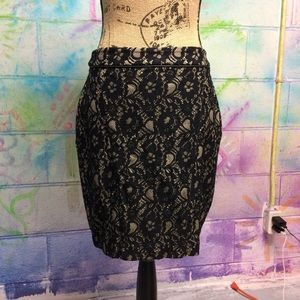 Black & Tan Floral Lace High Waisted Pencil Skirt